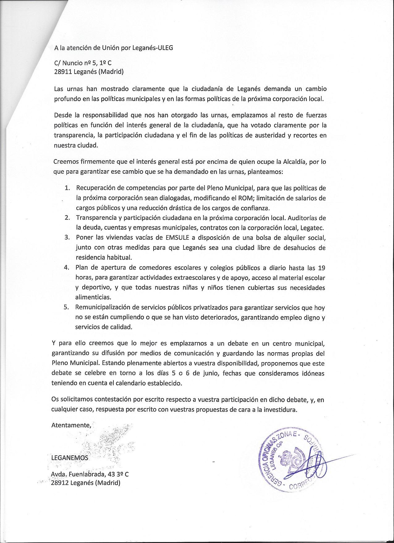 Burofax de Leganemos a ULEG